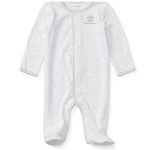 Ralph Lauren Striped Cotton Footed Coverall Gray